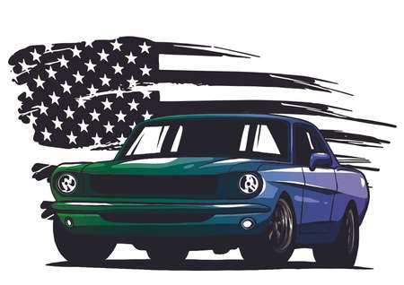 vector graphic design illustration of an American muscle car Vectores