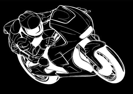 Motorcycle racer sport vector illustration