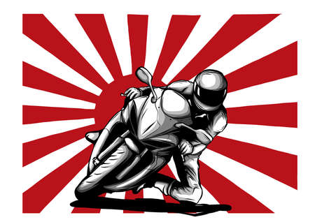 Japanese motorcycle yakuza gangs with flag of rising sun vector illustration