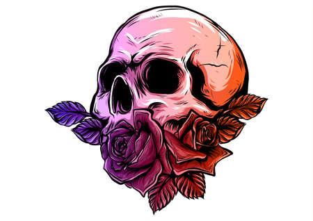 crânes avec des roses sur fond blanc Vecteurs