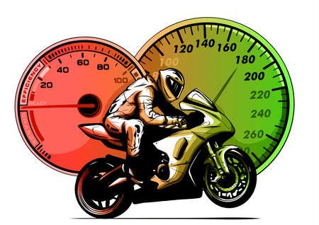 Sport superbike motorcycle with strumenst 矢量图像