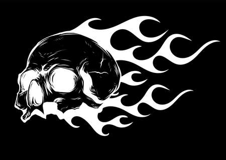 Skull on Fire with Flames Vector