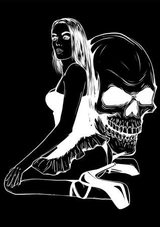 Girl with skeleton make up hand drawn vector sketch. Santa muerte woman witch portrait stock illustration