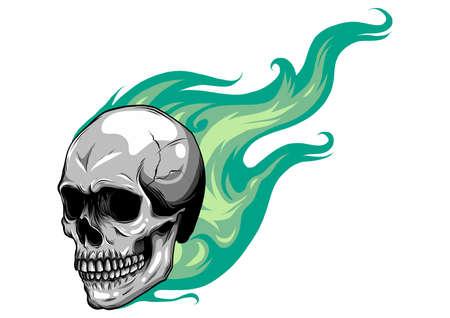 Schädel auf Feuer mit Flammen-Vektor