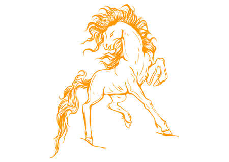 Vector silhouette of a running horse Vetores