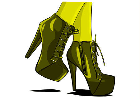 woman boots with legs vector illustrator