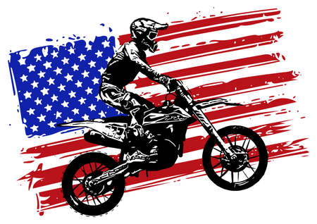 Hand drawn and inked American motocross motorcycle with american flag
