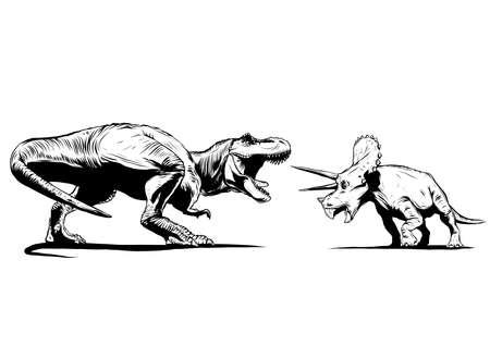 Ilustración de T Rex Versus Triceratops con un tiranosaurio rex atacando a un dinosaurio triceratops