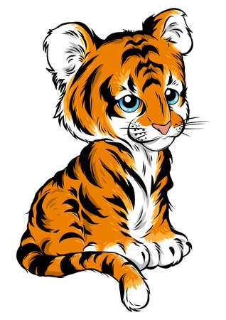 vector Illustration of cute baby tiger lies