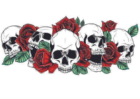 Skull and roses flowers hand drawn illustration. Tattoo vintage print. Skull and red roses.