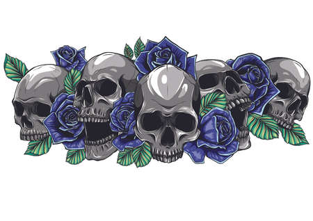 A human skulls with roses on white background