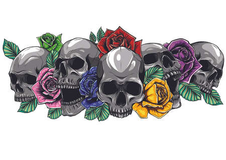 Skull with centifolia roses tattoo by hand drawing.Tattoo art highly detailed in japanese line art style. Banco de Imagens