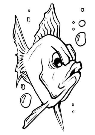 Vector aquarium fish silhouette illustration. Colorful cartoon flat aquarium fish icon