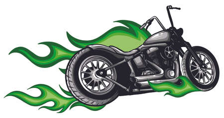motorcycle with fire and flames vector illustration 向量圖像