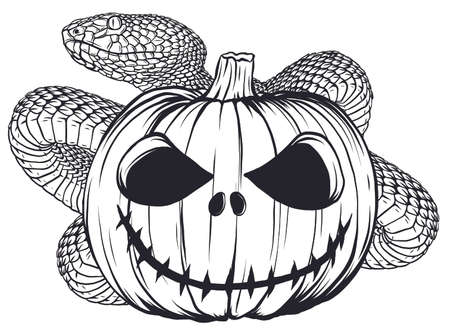 scary funny Halloween icons viper pumpkins illustration