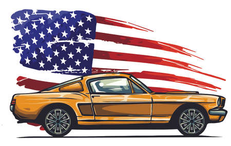 vector graphic design illustration of an American muscle car Ilustracja