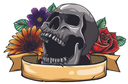 Skull. Hipster skull silhouette with mustache and arose in teeth with ribbon and bouquet of roses on a background. 向量圖像