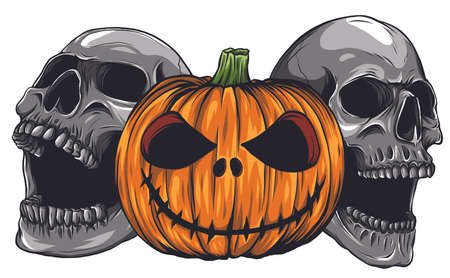 Halloween Monsters skull pupmkids isolation vector image