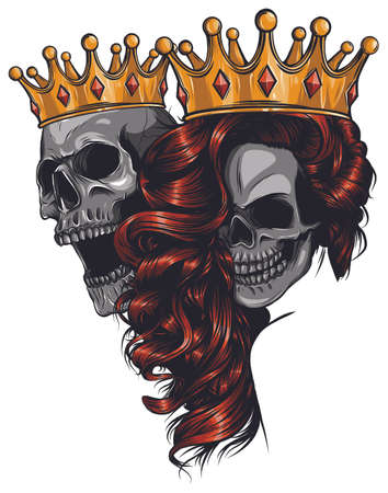 King and queen of death. Portrait of a skull with a crown. 스톡 콘텐츠 - 133788713