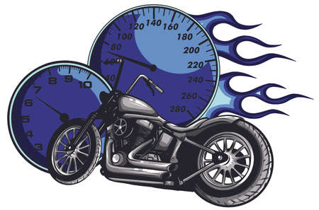 vector illustration Flaming Bike Chopper Ride Front View 向量圖像