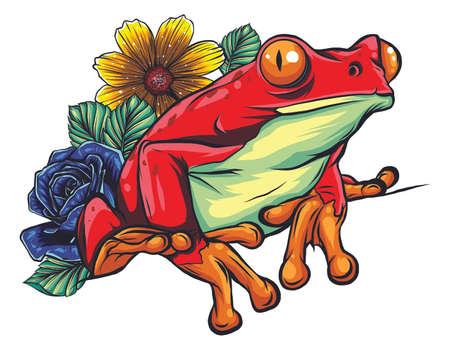 Animal grenouille rouge avec illustration vectorielle de fleur Vecteurs