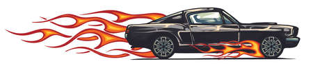vector muscle car with flames Crazy race 向量圖像