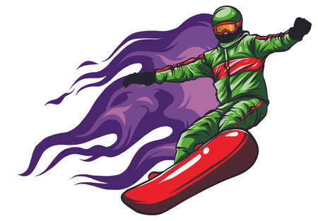 Snowboarder crow on fire vector illustration art 向量圖像