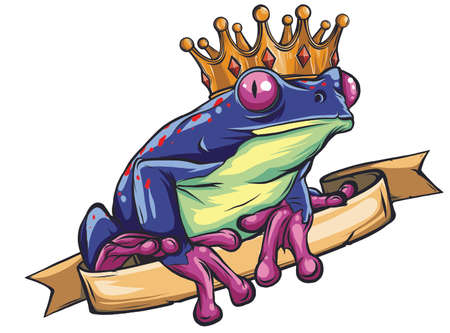 Frog Prince waiting to be kissed, holding a heart. vector Иллюстрация