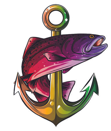 Anchor and fish vector illustration white background 向量圖像