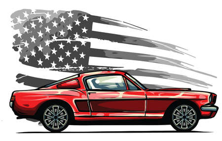 vector graphic design illustration of an American muscle car 向量圖像