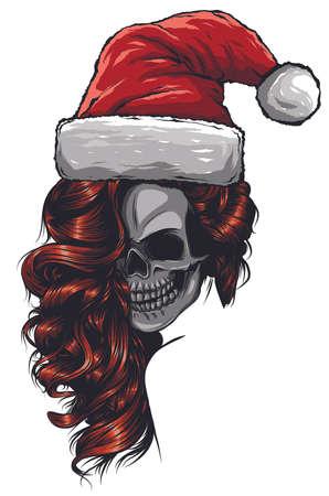 woman Skull of Bad Santa claus vector illustration