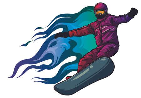 Snowboarder crow on fire vector illustration art Illusztráció