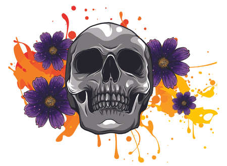 Skull and Flowers Day of The Dead, Vintage Vector illustration