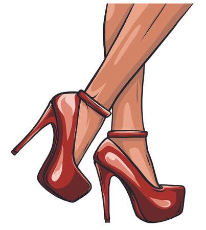 woman legs in fashion shoes vector ilustration Ilustração