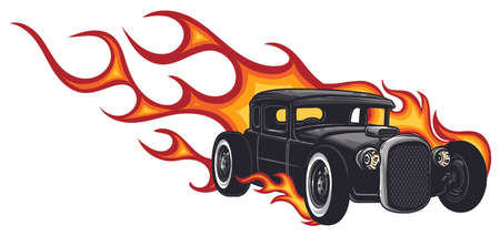 vector muscle car with flames Crazy race Ilustracja