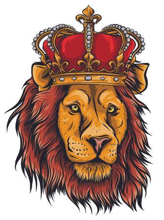 Vector Color King Lion Illustration on white background