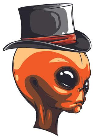 alien head cowboy hat vector logo illustration