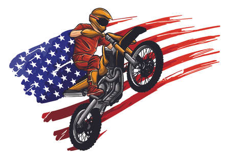 Motocross rider on a motorcycle - Illustration vector  イラスト・ベクター素材