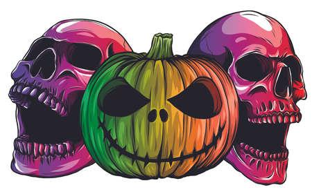 Halloween Monsters skull pupmkids isolation vector image
