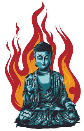 Hand drawn vector illustration of Buddha isolated