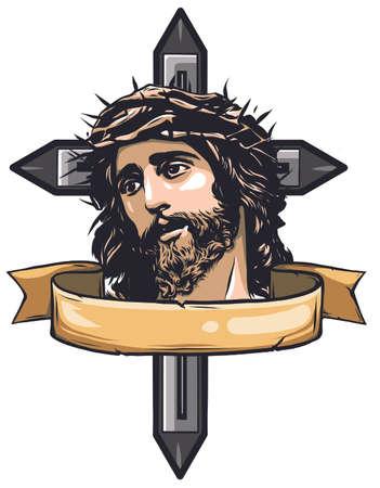 Jesus Christ face, art vector design illustration