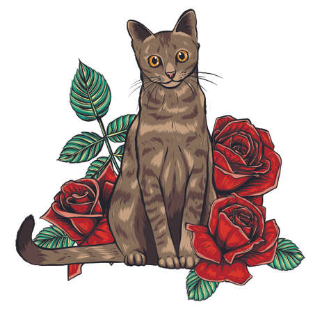 Vector Color Cat Roses Illustration on white background