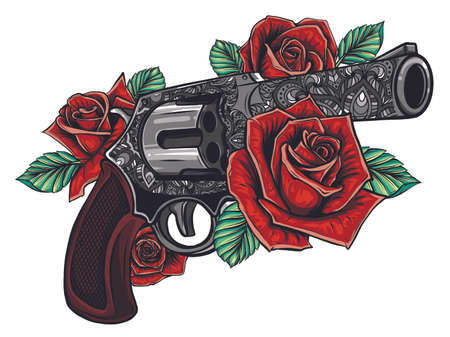 vector illustration of guns on the flower and ornaments floral with tattoo drawing style