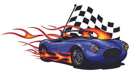 vector illustration Muscle Car with flames and race flag