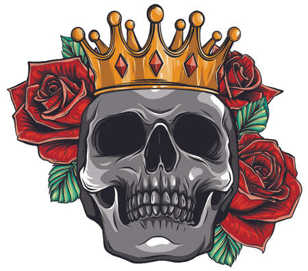 vector illustration skull wearing a king crown Ilustracja