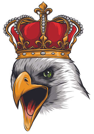 The Vector logo queen of eagles. Cute crown print style eagle of background. 일러스트