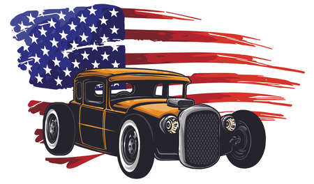 vector graphic design illustration of an American muscle car  イラスト・ベクター素材