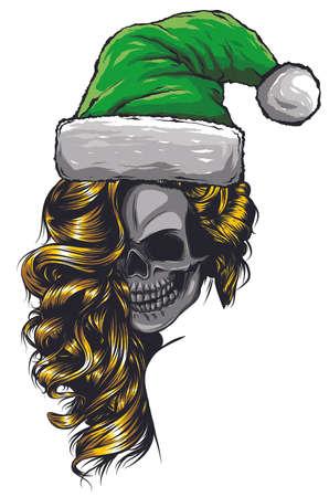 skull wearing Santa Claus hat vector illustration