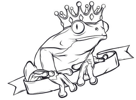 Frog Prince waiting to be kissed, holding a heart. vector  イラスト・ベクター素材