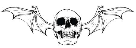 Fanged Skull with Bat Wings Black and White Vector Graphic Illustration Icon
